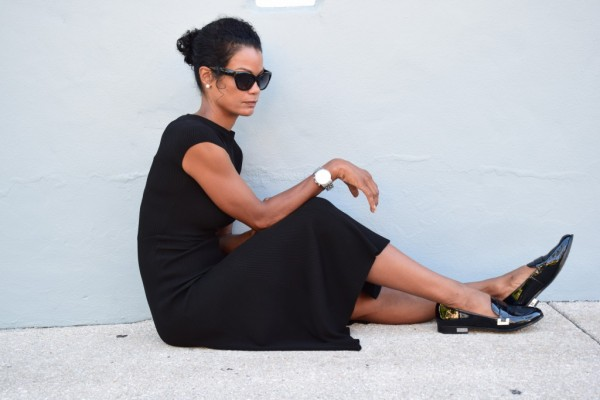 Diana-Black Dress and Black Loafers | 40plusstyle.com