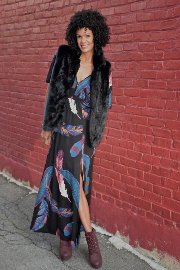 Diana Capozzi Fur Vest Maxi Dress | 40plusstyle.com