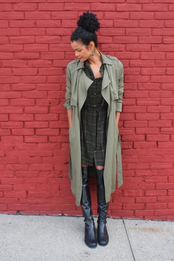 Diana Capozzi Plaid Dress Neutral Trench | 40plusstyle.com