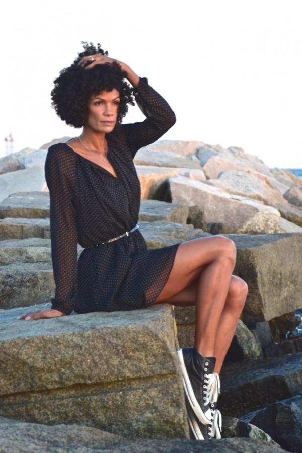 Diana Capozzi-Converse Sneakers-Polka Dot Dress   40plusstyle.com