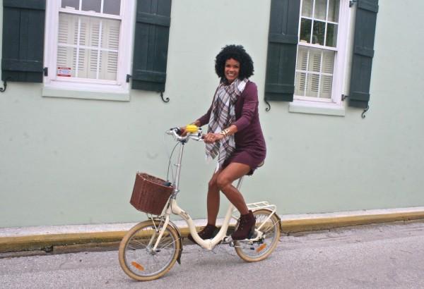 Diana Capozzi Shift Dress Plaid Scarf Bike | 40plusstyle.com