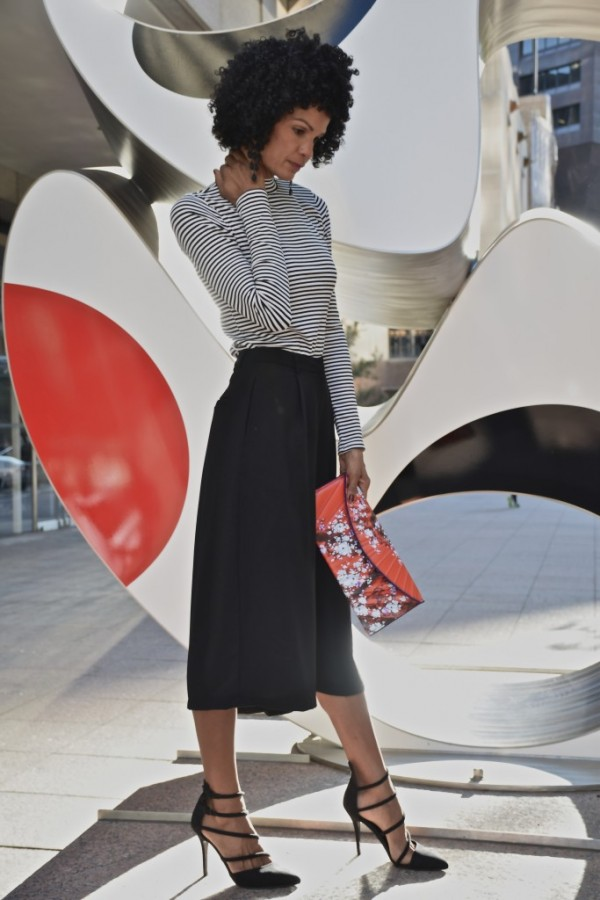 Diana Capozzi-Black Culottes Striped Shirt | 40plusstyle.com