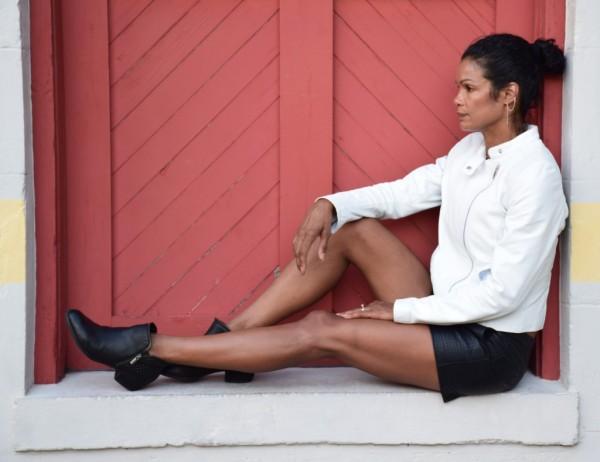 Diana Capozzi-Leather Shorts and Leather Jacket | 40plusstyle.com