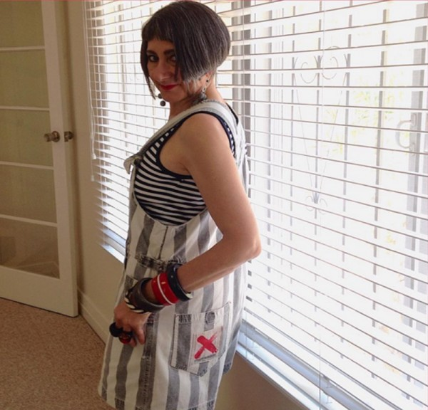 Striped overalls and striped tank top   40plusstyle.com