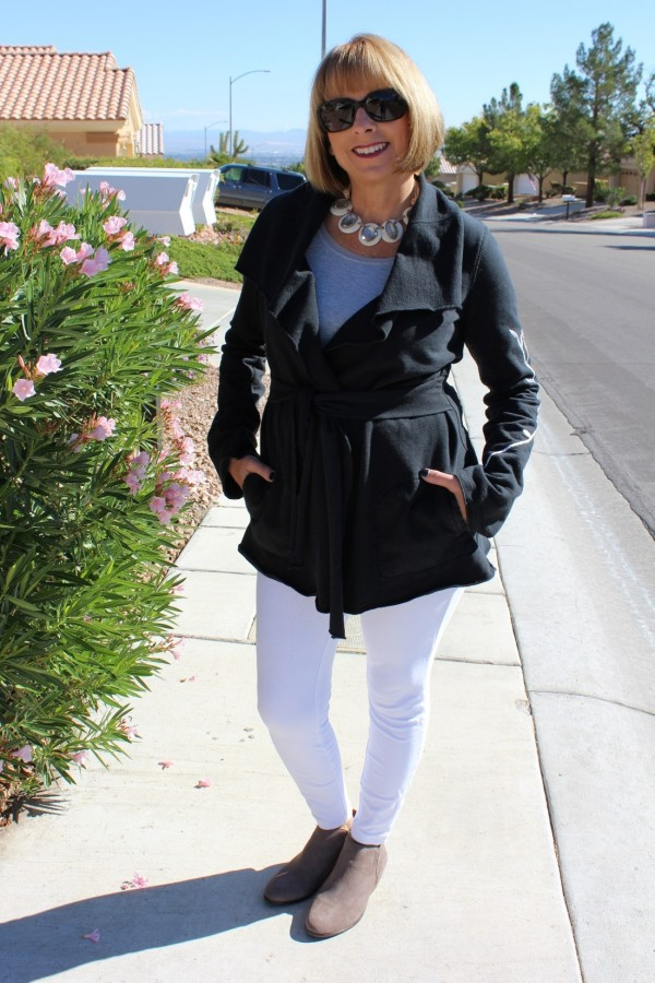 Black Wrap Jacket White Pants | 40plusstyle.com
