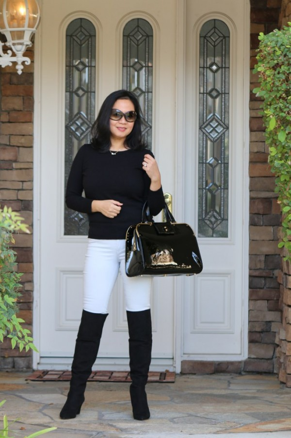 black over the knee boots white jeans | 40plusstyle.com