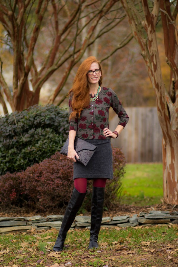 Gray Skirt Over-the-Knee Boots | 40plusstyle.com