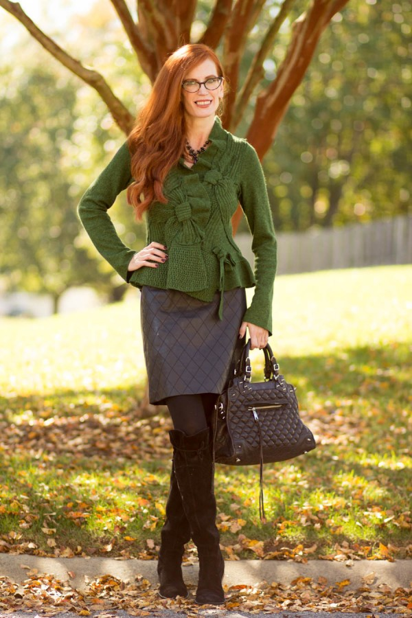 Green Peplum Sweater Over-the-Knee Boots | 40plusstyle.com