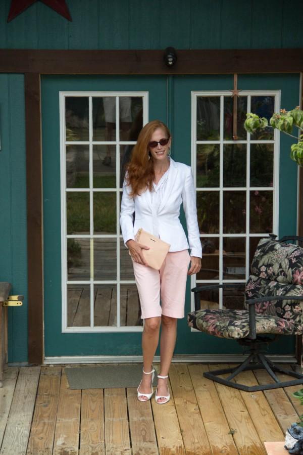 Pink Shorts White Blazer   40plusstyle.com