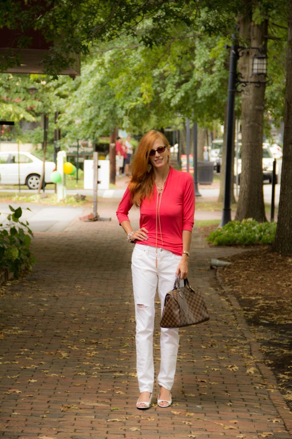 Red Top Ripped Jeans   40plusstyle.com
