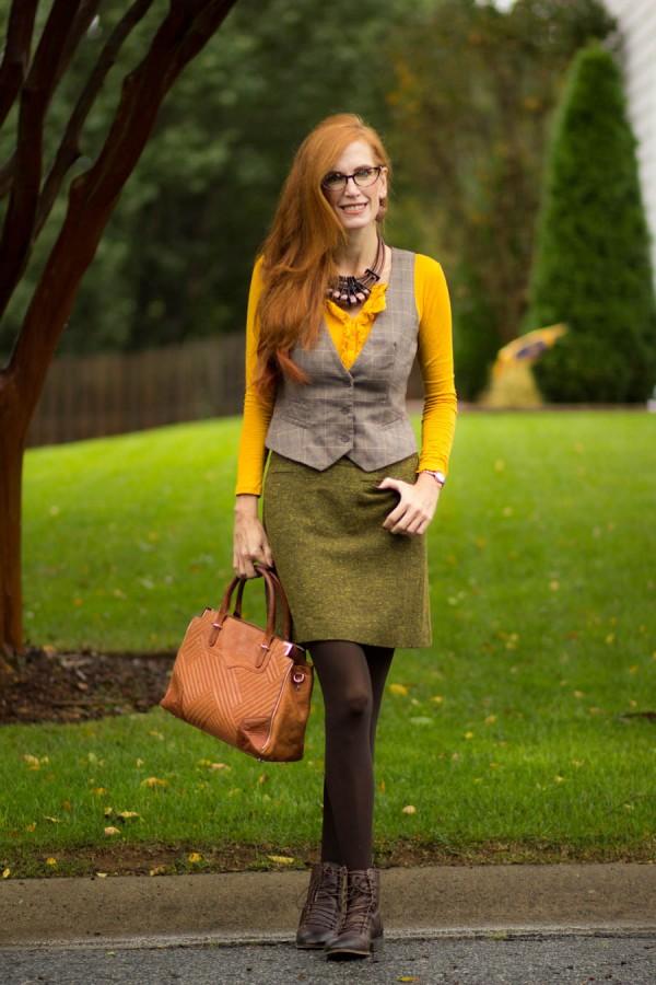 Green Skirt Yellow Top Gray Vest   40plusstyle.com