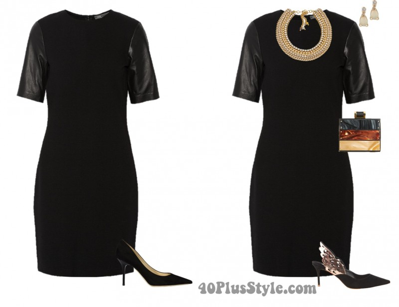 LBD sophia webster pumps gold statement necklace | 40plusstyle.com