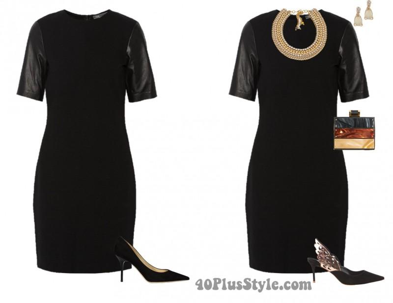 LBD sophia webster pumps gold statement necklace | 40plusstyle.com