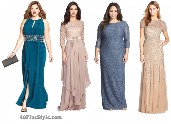 Mother of the Bride Blue Pink Lace Gowns Dresses | 40plusstyle.com