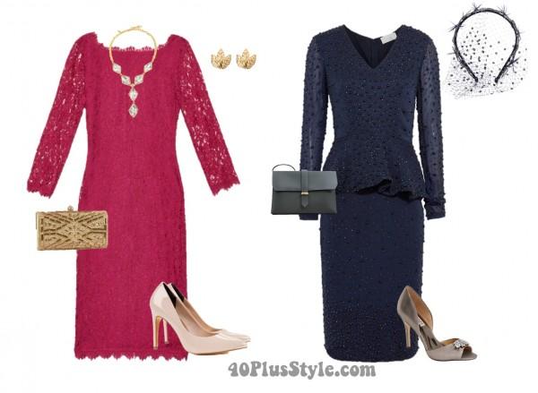 Mother of the Bride dresses blue embellished pink fascinator | 40plusstyle.com