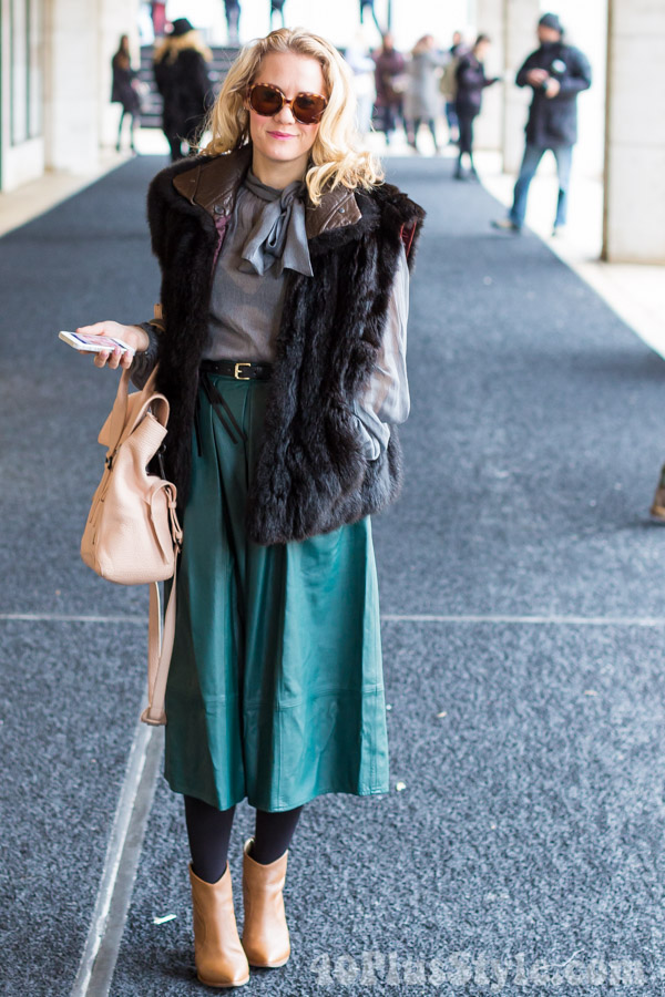 brown ankle boots green midi skirt pussy bow blouse winter looks | 40plusstyle.com