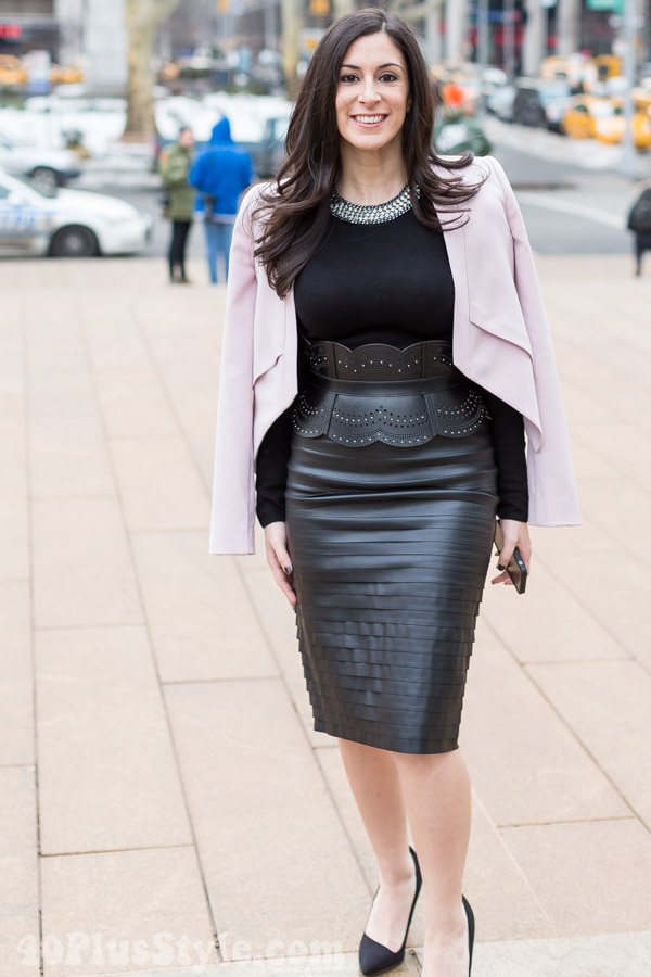leather peplum skirt winter looks | 40plusstyle.com