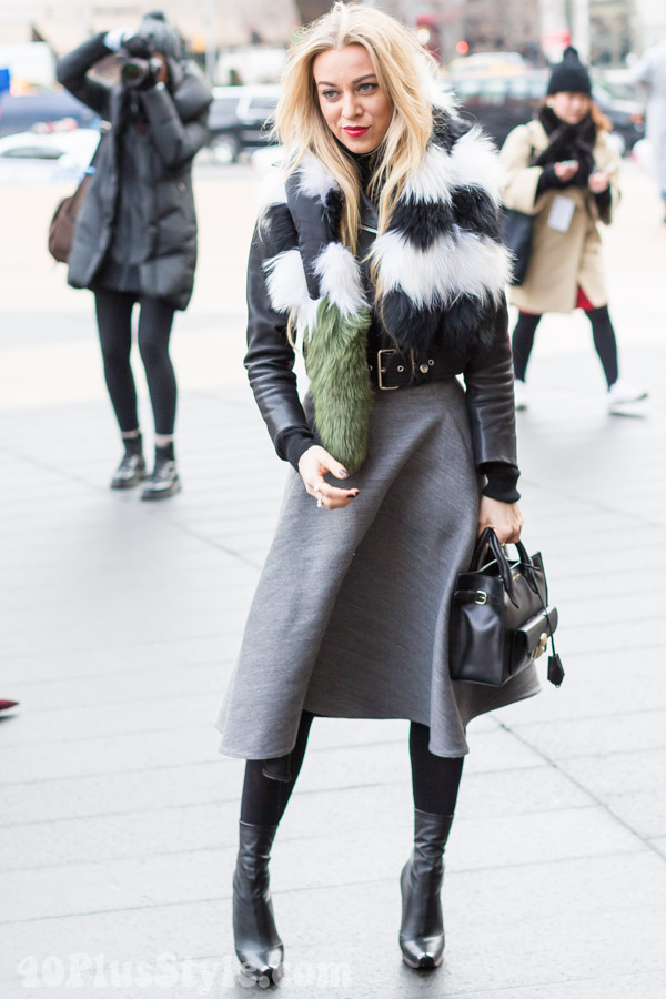 rocker chic gray skirt fur coat leather winter looks | 40plusstyle.com
