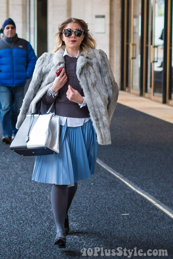 fur coat pleated skirt winter looks | 40plusstyle.com