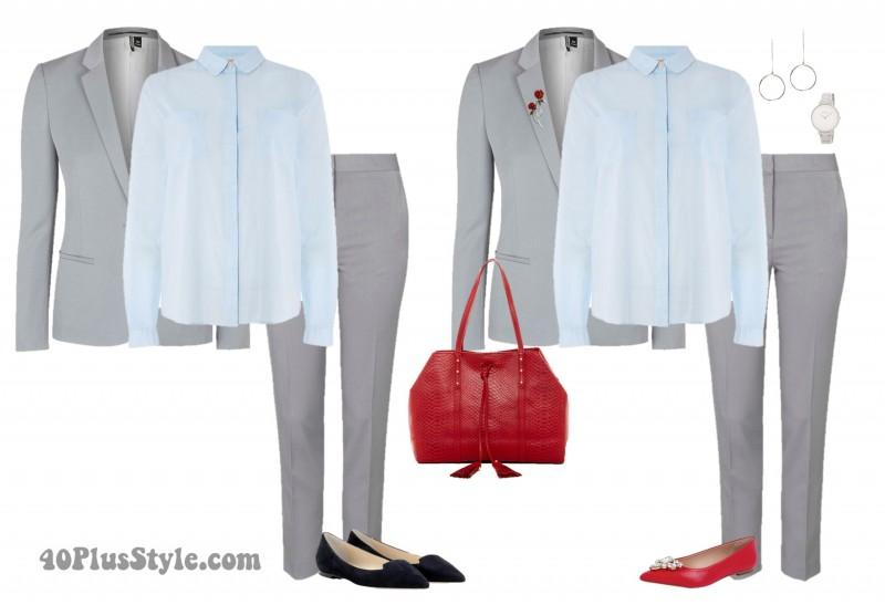 gray suit silver watch drop pendant earrings| 40plusstyle.com