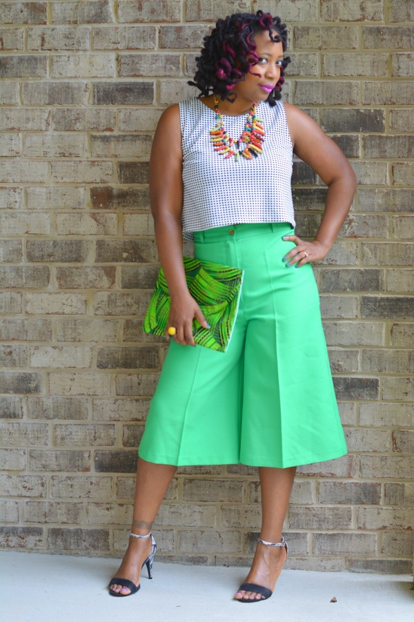 Green culottes   40plusstyle.com