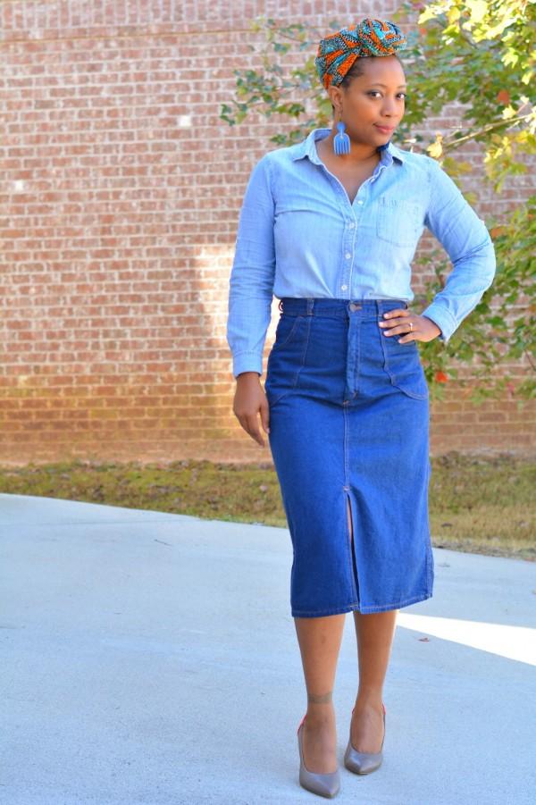 Denim Skirt Shirt Headwrap   40plusstyle.com