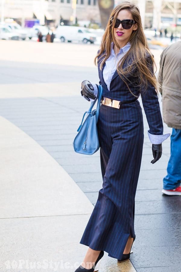 blue pinstripe jumpsuit | 40plusstyle.com