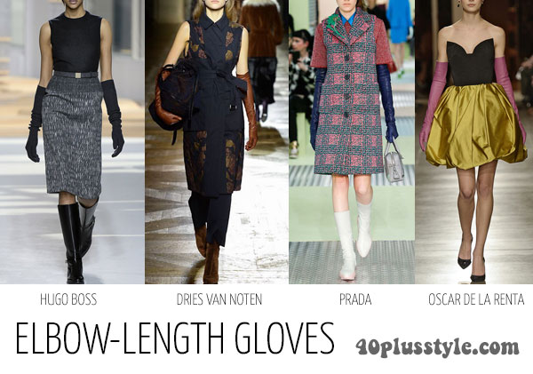 How to wear gloves as a stylish accessory for winter - elbow length gloves | 40plusstyle.com