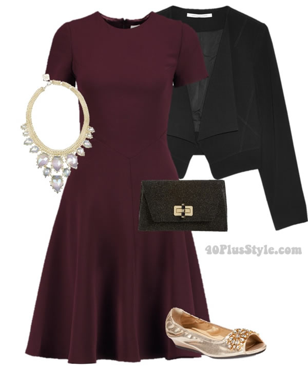 classic timeless look burgundy dress statement necklace   40plusstyle.com