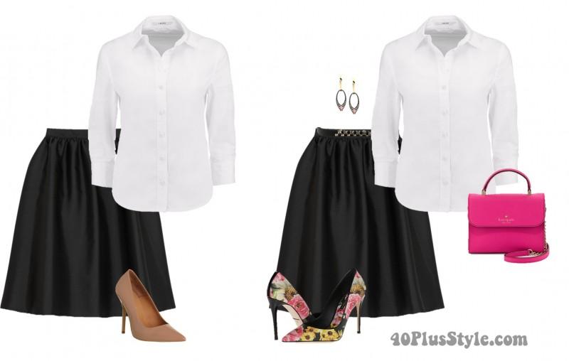 satin a-line skirt floral print pumps pink crossbody bag| 40plusstyle.com