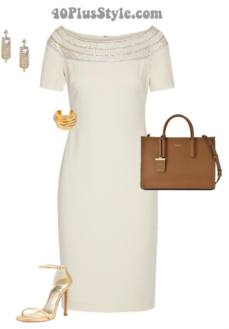 little white dress embellished metallic heels gold | 40plusstyle.com