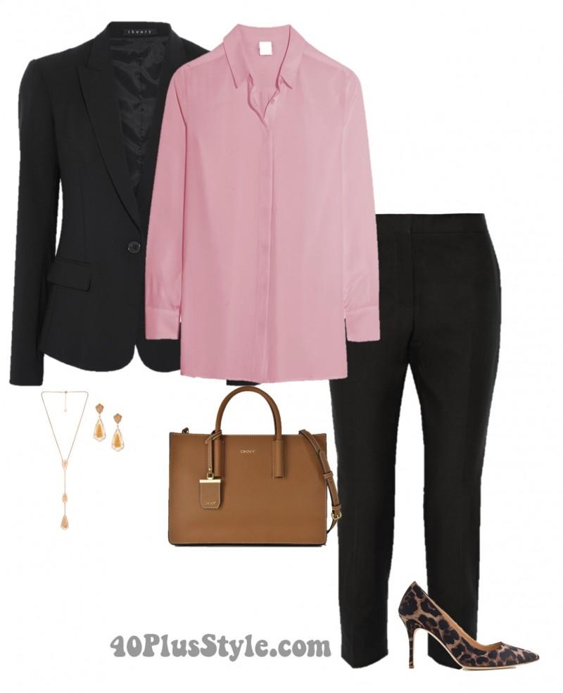 office look animal print heels black suit buttonup | 40plusstyle.com