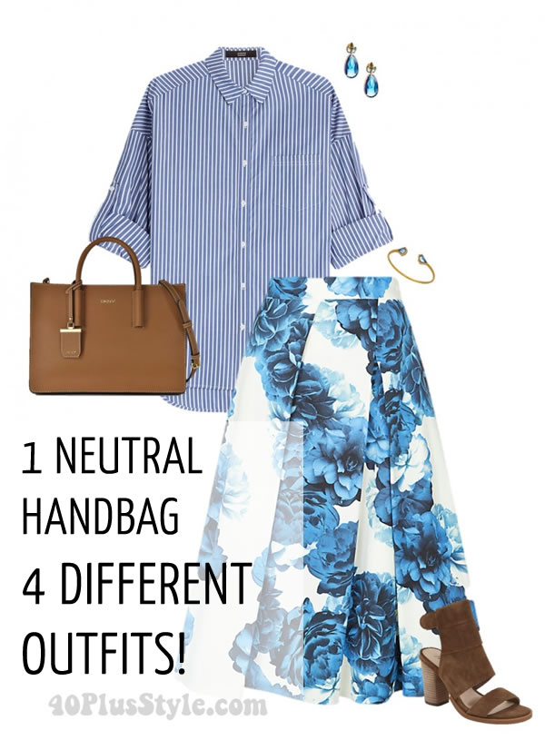 neutral tote handbag looks chic | 40plusstyle.com
