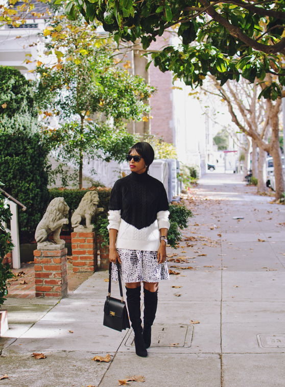 colorblock fisherman's sweater over the knee boots   40plusstyle.com