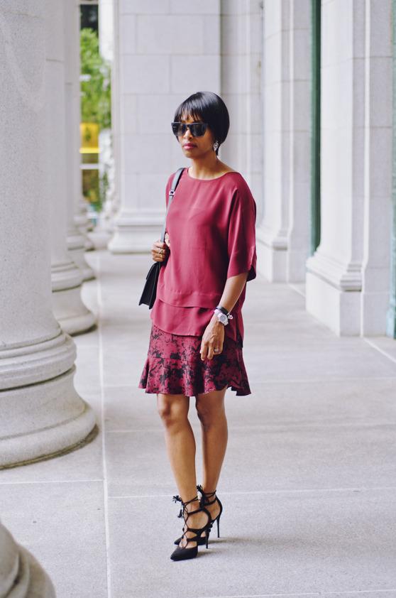 laceup pumps burgundy dress | 40plusstyle.com