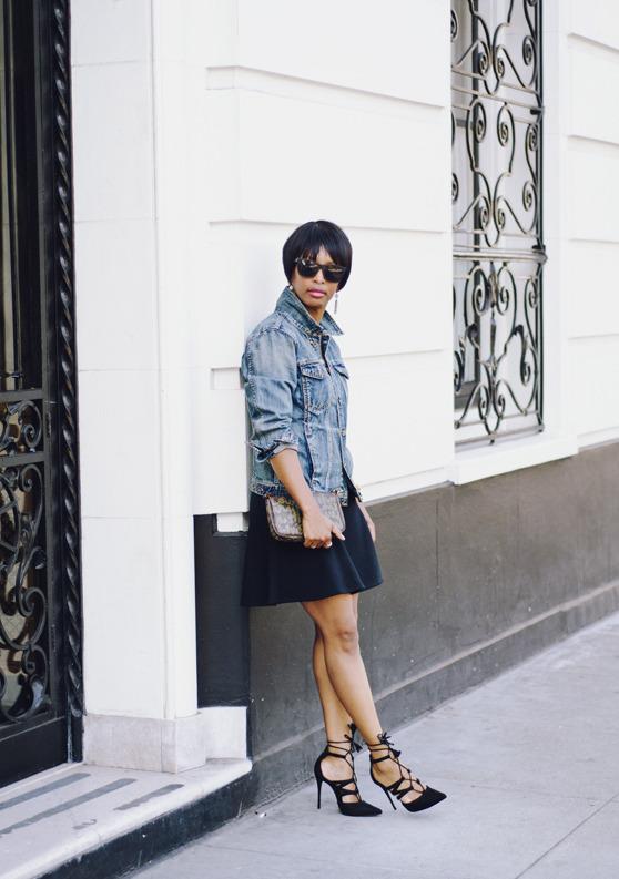 denim jacket black skater dress laceup heels | 40plusstyle.com