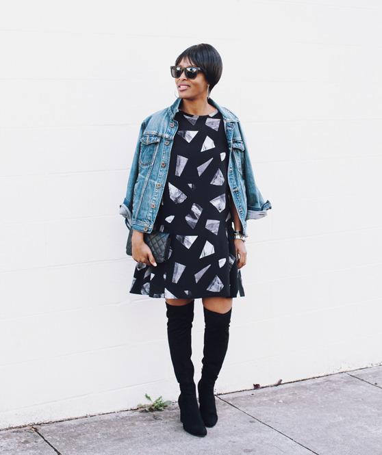 graphic print dress denim jacket | 40plusstyle.com