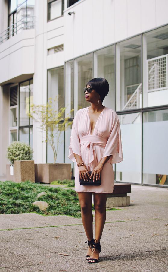 blush pink dress black heels | 40plusstyle.com