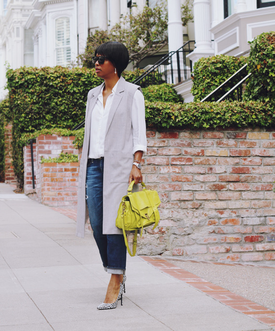longline vest white oxford gray heels   40plusstyle.com