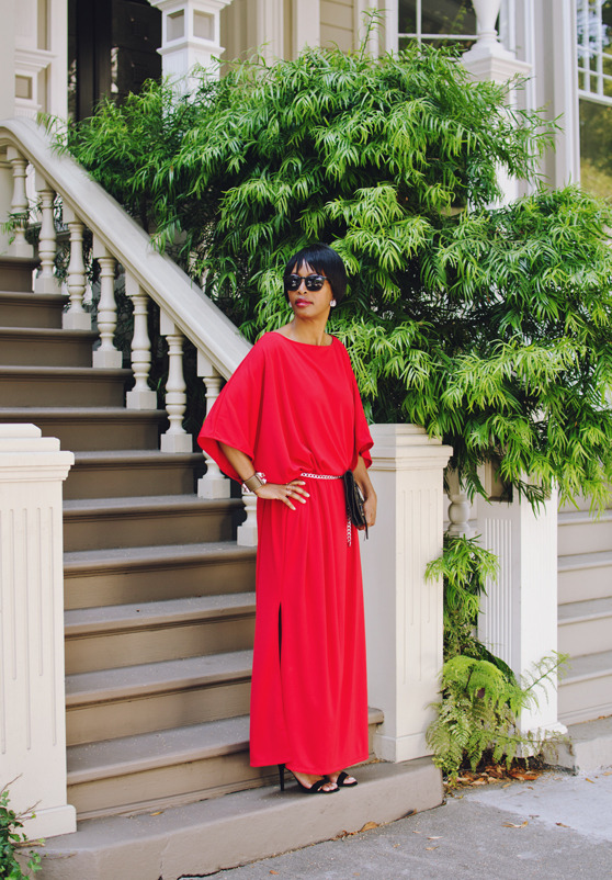 red evening dress | 40plusstyle.com