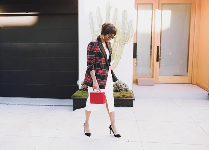 Kim wearing a plaid blazer | 40plusstyle.com