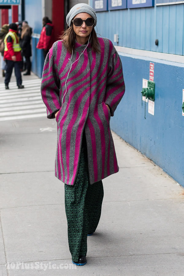 Streetstyle inspiration: a striped coat over printed pants