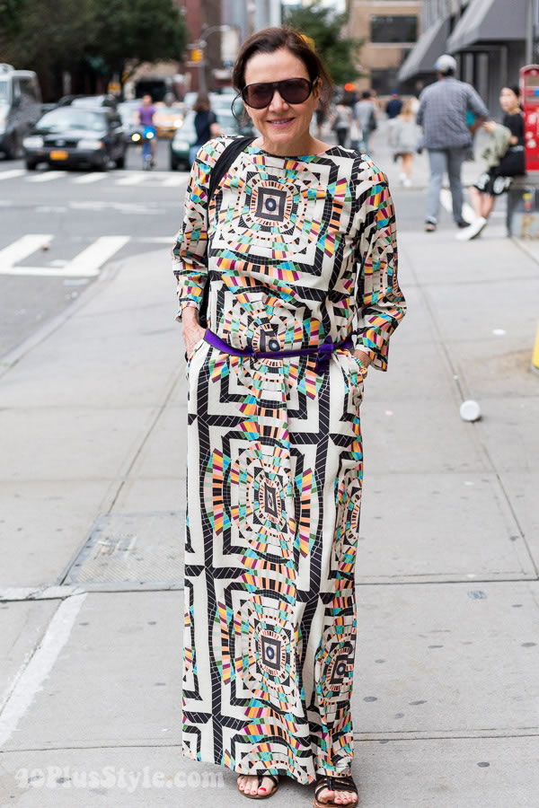 Street style inspiration: colorful pattern geometric aztec dress | 40plusstyle.com