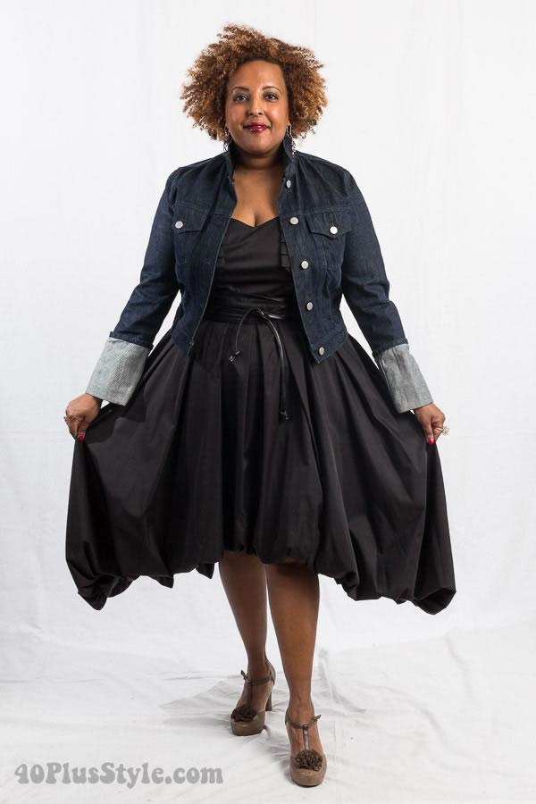 Black dress and jean jacket | 40plusstyle.com