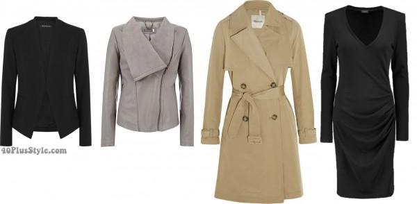 LBD trenchcoat blazer leather jacket | 40plusstyle.com