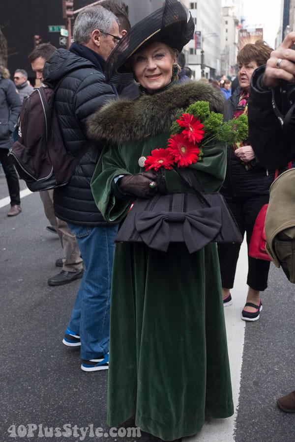 Velvet green dress | 40plusstyle.com