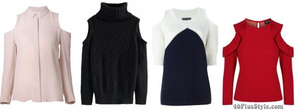 cold bare shoulder tops spring | 40plusstyle.com