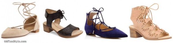 Lace-up flats and heels | 40plusstyle.com