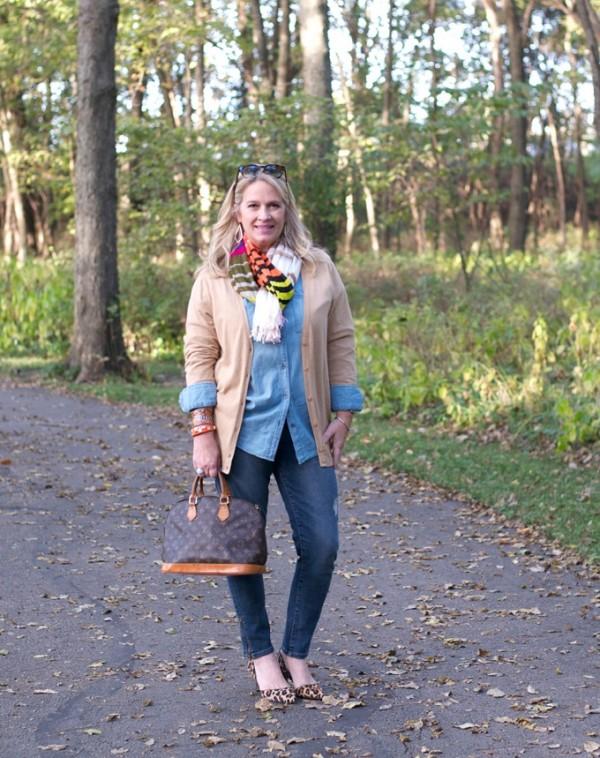 louis vuitton bag chambray top striped scarf leopard print pumps | 40plusstyle.com