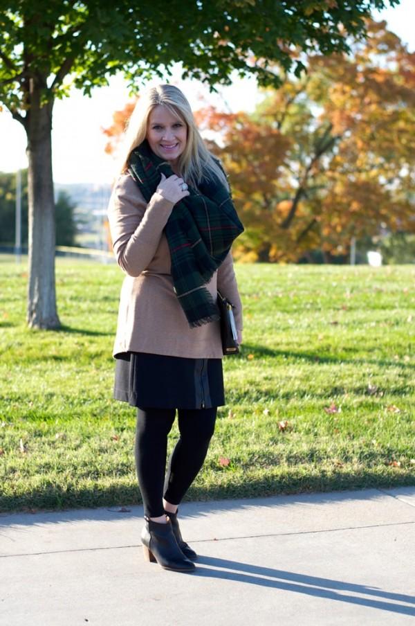 booties tan jacket plaid scarf | 40plusstyle.com